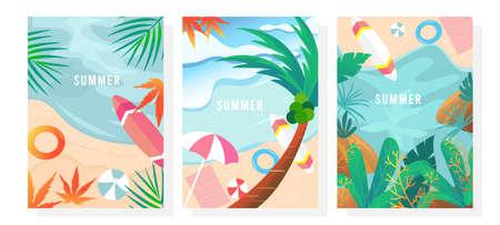 Vector set summer background, Summer beach, Nature background, Summer landscape, Card, Poster, Sale banner, Cover, Template.