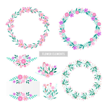 Vector design elements flowers and leaves , Card design, Greeting Card, Poster, wedding card, Invitation card.