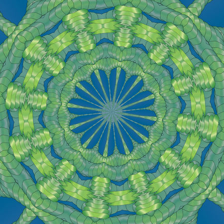 Kaleidoscopic green pattern. The image is computer graphics, created using various programs. It can be used in the design of your site, design textile, printing industry, in a variety of design projects.