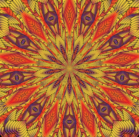 Kaleidoscopic orange pattern. The image is computer graphics, created using various programs. It can be used in the design of your site, design textile, printing industry, in a variety of design projects.