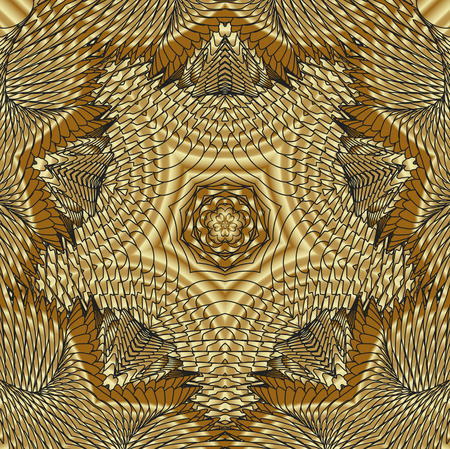 Kaleidoscopic gold pattern. The image is computer graphics, created using various programs. It can be used in the design of your site, design textile, printing industry, in a variety of design projects.
