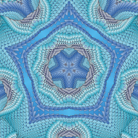 Kaleidoscopic blue pattern. The image is computer graphics, created using various programs. It can be used in the design of your site, design textile, printing industry, in a variety of design projects. Stock Photo
