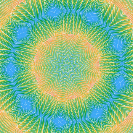 Kaleidoscopic bright rainbow pattern. The image is computer graphics, created using various programs. It can be used in the design of your site, design textile, printing industry, in a variety of design projects.