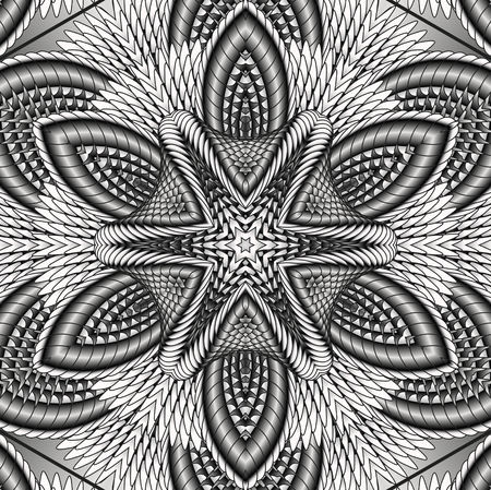 Kaleidoscopic silver pattern. The image is computer graphics, created using various programs. It can be used in the design of your site, design textile, printing industry, in a variety of design projects.