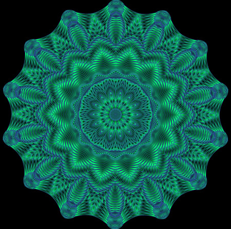 Kaleidoscopic green pattern, mandala is computer graphics and it can be used in the design of textiles, in the printing industry, in a variety of design projects.