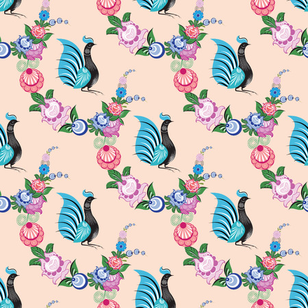 Seamless background with folk Russian patterns is computer graphics and can be used in the design of textiles, in the printing industry, in a variety of design projects Imagens - 109267770