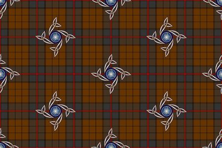 Stylized checkered background with celtic pattern for prints, fabrics, designs, clothes. The basis of the background is the Ulster Tartan