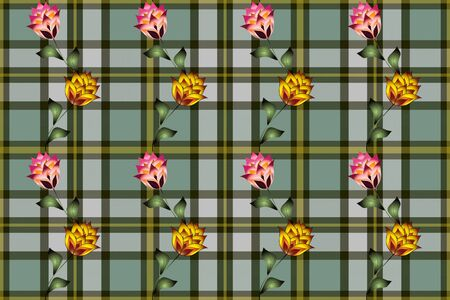Floral and leafy patterns on a tartan background.