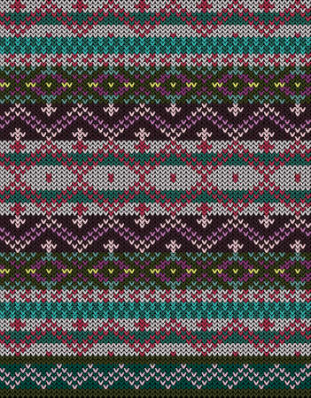 Fair Isle knitted colorful seamless pattern, scandynavian style Векторная Иллюстрация