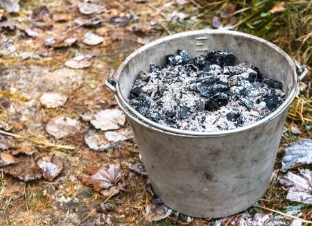 Bucket filled with wood ash from the oven
