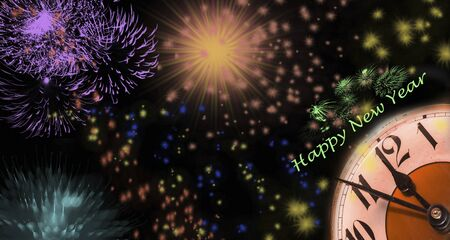 Fireworks on New Year's Eve with clock and greetings in front of black background