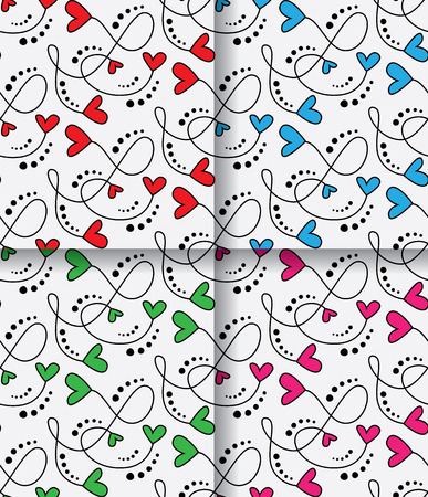 A Seamless Vector Patterns With Hearts isolated on plain background.