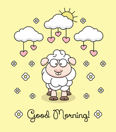 Good Morning text with sheep, hearts and clouds vector illustration