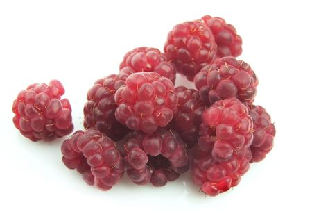 Ripe berry of a raspberry close up on a white background Stock Photo - 7589496