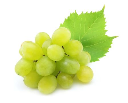 Cluster of white grapes with  leaves on a white background