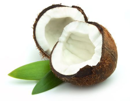 coconut drink: Coconut with leaves on a white background