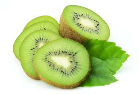 Lobes of a ripe kiwi with leaves on a white background Stock Photo - 8224192