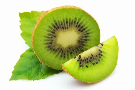 lobes: Lobes of a ripe kiwi with leaves on a white background