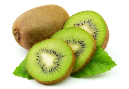 Sweet kiwi with leaves on a white background Stock Photo