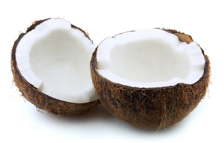 copra: Coconut on a white background Stock Photo