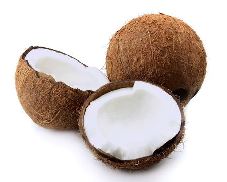 copra: Coconut closeup on a white background Stock Photo
