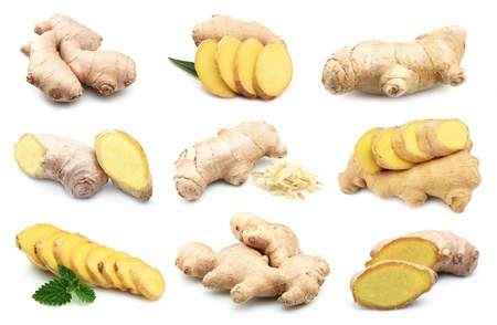 root vegetable: Ginger root on a white background.Collage