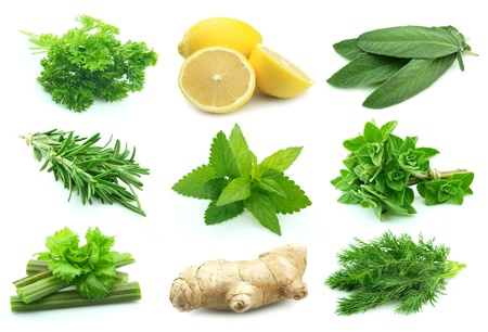 rood: Collage of green and juice spice on white background.