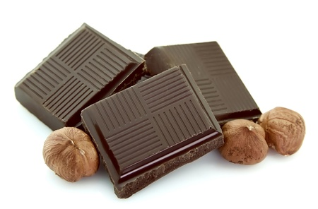 filbert nut: Chocolate with filbert close up Stock Photo