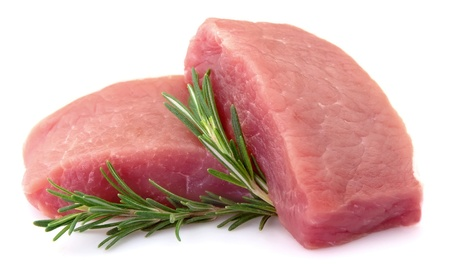 sirloin steak: Crude meat with rosemary on a white background