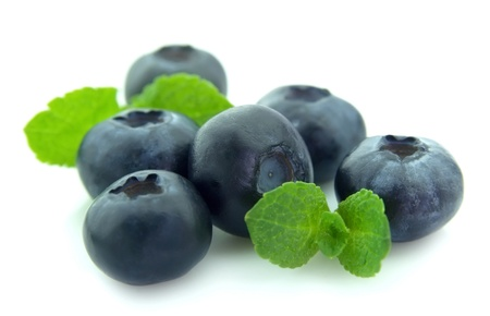 bilberries: Ripe blueberry with mint closeup