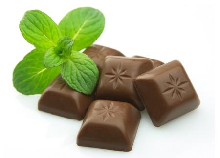 menta: Cerrar deliciosa barra de chocolate con menta Foto de archivo