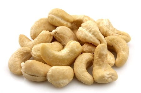 Ripe cashew nuts close up photo