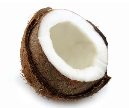 Half of coconut closeup on a white background  photo
