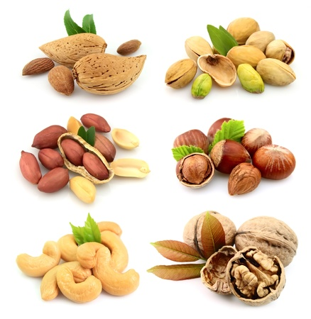 cashew nuts: Collection of nuts on a white background  Stock Photo