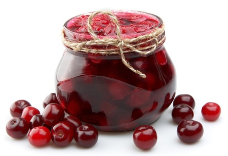 Jam with cherry close up photo