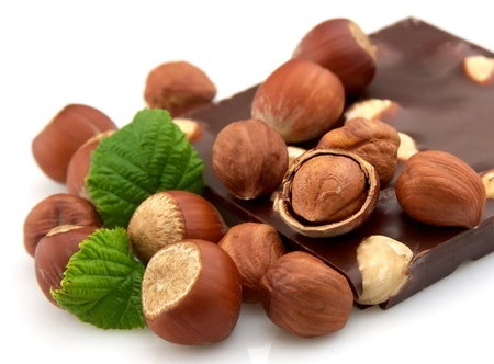 Delicious chocolate with nuts closeup photo