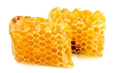 Honeycomb close up on the white  photo