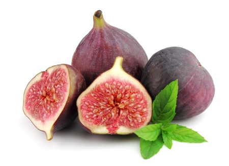 Sweet figs with fresh mint close up
