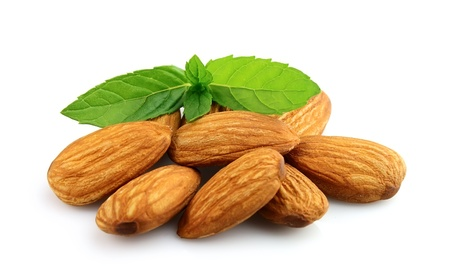almond: Almonds with mint  close up