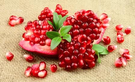 pomegranates on the linen texture