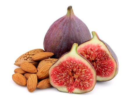 purple fig: Sweet figs with nuts close up