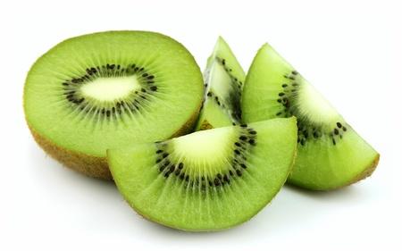 kiwi fruit: slices of kiwi on a white  Stock Photo