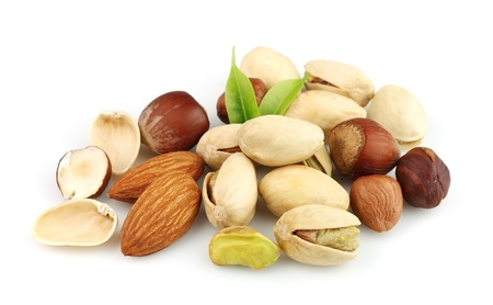 Nuts mix on the white close up