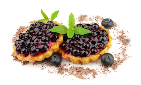 Pie with fresh bilberry and mint  photo