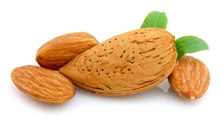 almonds with a leaf close up photo