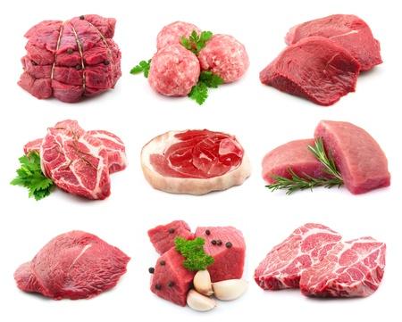 고기의: 흰색 collectionon 고기 스톡 사진
