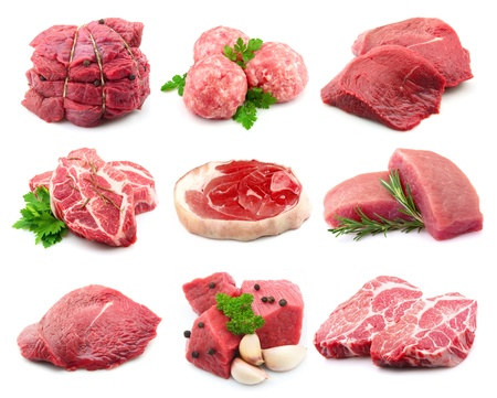 at meat: Meat collectionon the white