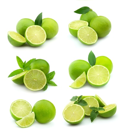 spearmint: Collage of juice lime on white background.