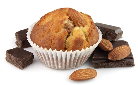 Cake with almonds and chocolate segments photo