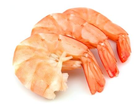jumbo shrimp: shrimps close up on white Stock Photo